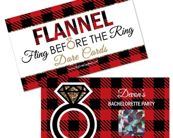 Bachelorette Party Game - Flannel Fling Before The Ring - Personalized Plaid Party Scratch Off Dare Cards - Bridal Shower Game - 22 ct.