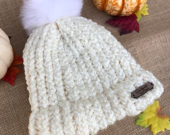 Deco White Pom Pom Knit Hat, Knitted Hat, Womens Hat, Teen Hat, Accessories, Hats & Caps, Pom Pom Hat, Chunky Knit Hat, Warm Winter Hat, Cap