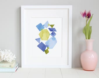 Watercolor Geometric Abstract Art. Gallery Wall Decor. Abstract Art. Watercolor. Blue and Green Shapes.