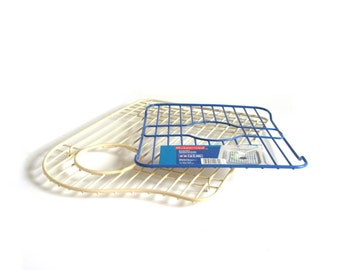 Rubbermaid Kitchen Sink Insert Wire Rack Liners Vintage 1960s Ivory or 1990s Slate Blue Plate Saver