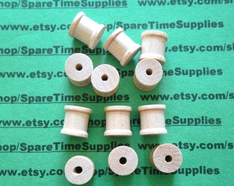 """Wood Spools - 1/2"""" tall x 1/2"""" wide w/ 1/8"""" hole - 50 pcs - #SP4000WW50"""