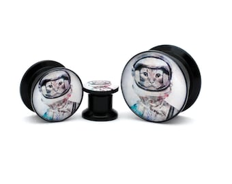 Black Acrylic Cat Astronaut Picture Plugs gauges - 8g, 6g, 4g, 2g, 0g, 00g, 7/16, 1/2, 9/16, 5/8, 3/4, 7/8, 1 inch
