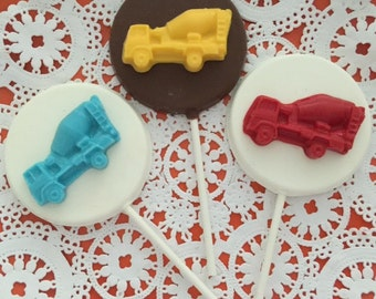 CEMENT TRUCK Chocolate Lollipops(12 qty) - Construction Birthday/Boys Birthday/Party Favors/Construction Favors/Cement Trucks/Truck Lollipop