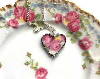 Broken china jewelry - heart pendant necklace - antique French porcelain - pink cabbage roses, Dishfunctional Designs broken china jewelry
