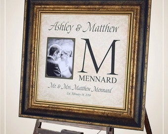 Personalized Family Name Gift, Wedding Gift for Couple, Personalized Monogram Gift, Wedding Monogram, 16x16