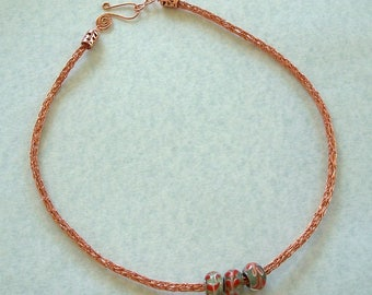 Non Tarnish Copper Viking Knit Necklace with Green and Orange Large Glass Beads by Carol Wilson of Je t'adorn