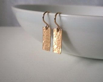 14Kt gold filled hammered rectangle earrings; gold rectangle earrings; gold geometric earrings; handcrafted hammered rectangle earrings