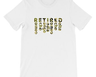 Retired US Militar Veteran NATO phonetic alphabet T Shirt camuflage
