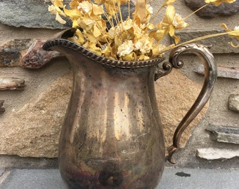 Vintage Silverplate Water Pitcher...Old. Silver. Crescent. Drinks. Container. Spout. Antique. Patina. Farmhouse. Tarnished. Plated. Old.