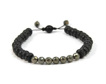 Urban Men's Pyrite & Lava Pull Tie Single Bracelet. Boho Jewelry. Bohemian Jewelry. Ideas for him. Gift for him.