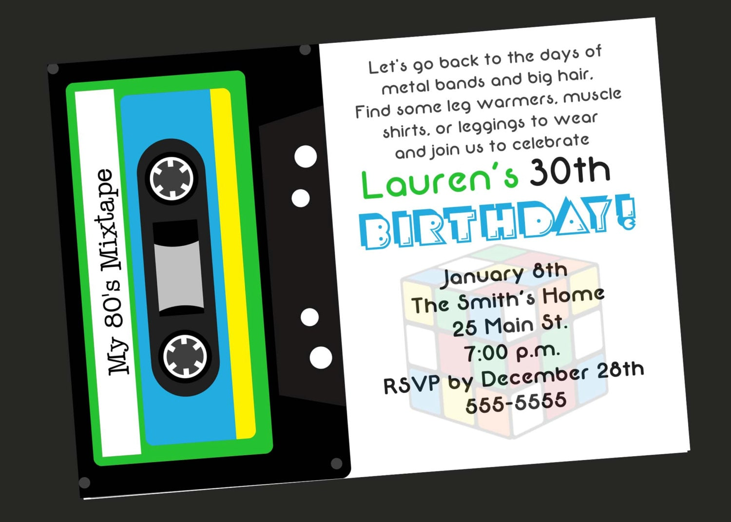 80\'s Theme 30th Birthday Party Invitation