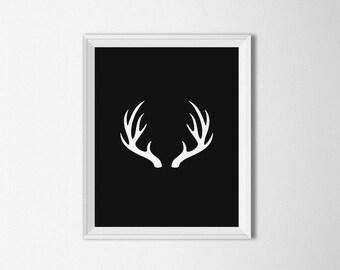 Antlers, Black and White printable, Deer antler art, Antlers Wall art, antler decor, Minimalist art, deer wall art, antler print, antler art