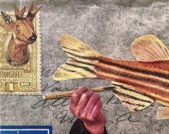 Calligraphy Fish Postcard