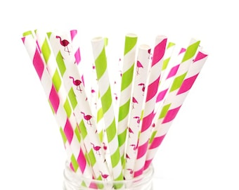 Pink Flamingo Paper Straws - Tropical Party - Luau - Pink and Green Straws - Set of 25