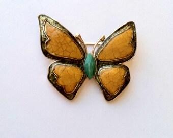Jahrgang Liz Claiborne Butterfly gelb Türkis Emaille Gold-Ton Brosche Designer signiert
