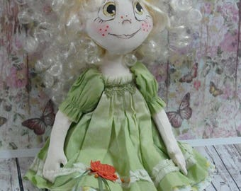 Handmade textile doll Soft doll as a gift to a girl Author's doll made of cloth Element of a country decor Give her her birthday