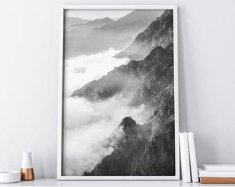 Mountain Photography Print Digital Download| Mid Century Modern Industrial Boho Rustic Printable Wall Art| Tumblr Minimalist Wall Decor