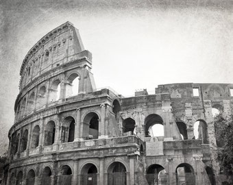 Colosseum, Rome Photography, Black and White Photography, Roman Ruins, Travel Photography, Italy, Europe, Architecture, Wall Art, Home Decor