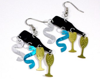 New Years Earrings Champagne Bottles Glasses Streamers Confetti Dangles Silver & Light Blue Ribbon Streamers Plastic Sequins