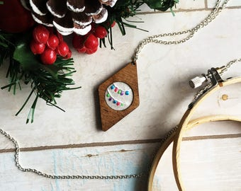 Festive Lights - Hand Embroidered Wooden Necklace