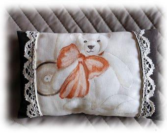 Bear velvet and lace pillow