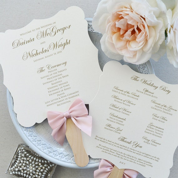 Fancy Shape Fan Program with Blush Bow - Ivory Die Cut Wedding Program with Pink Blush Ribbon - Custom Wording, Colors, & Fonts