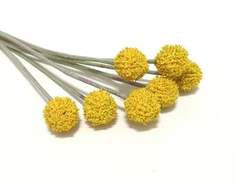 Yellow Billy Button Spray - Craspedia, Artificial Flowers, Flower Crown, Woodland, Wild Flowers, DIY Wedding, Hair Accessories, Millinery