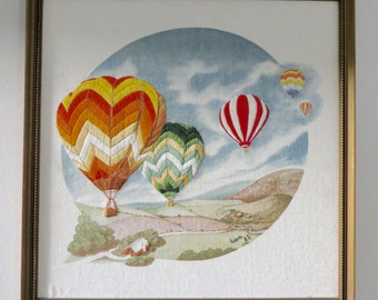 Vintage Framed Crewel Art - Hot Air Balloons Embroidery Art - Colorful Art