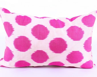 IkatPink Pillow Cover, Decorative Pillows,  Couch  Pillows, Ikat Pillowcase, Silk, Eclectic Home Decor