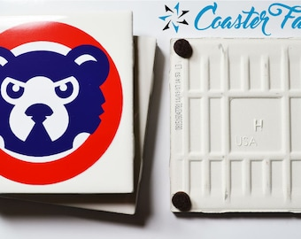 """Chicago Cubs Table Coasters 4 per set made from Ceramic Tiles 4"""" x 4"""""""
