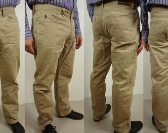 Ralph Lauren cotton pants, Chino pants, POLO pants Size W38 L32, gray relax fit pants, Made in China, beige-gray Ralph Lauren Polo trousers