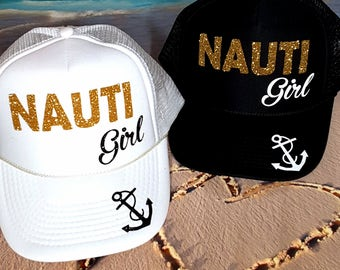 Nauti Girl Hat, BACHELORETTE PARTY HATS / Glitter Text / Solid Black or White Hat, Bridal Party Pool Vacation Drunk Tribe Bridesmaids
