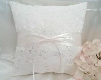 Ivory Ring Bearer Pillow - Ivory Wedding Pillow - Ivory Lace Ring Pillow - Ivory Satin Pillow - Ivory Sequin Ring Pillow - Ivory Wedding