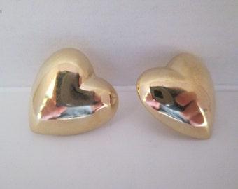 Gold Heart Post Earrings