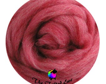 Needle Felting Wool Roving / ES5 Sea Coral Carded Wool Sliver