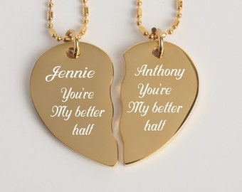 Personalized Necklace Set, Best Friends Jewelry, Couples Necklace, Gold Broken Heart Necklace, Engraved Necklace, Split Heart Necklace