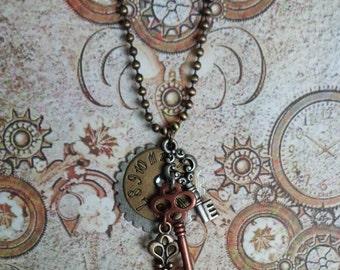 Steampunk Timepiece, Gear & Keys Necklace. III