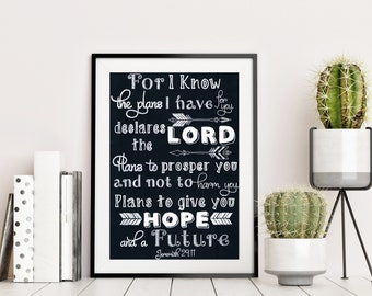 For I know the plans I have for you - Jeremiah 29:11 - Hand Drawn Chalkboard Bible Verse - Christian Gift