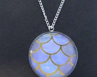 Mermaid Scaled Stone Pendant Necklace