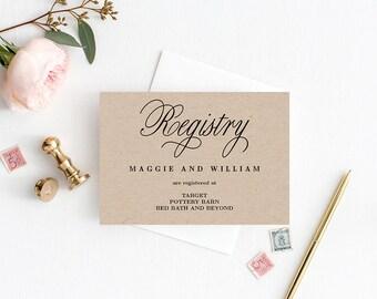Registry Cards Editable Template - Printable PDF - Elegant Script - Wedding Registry Cards #ELC