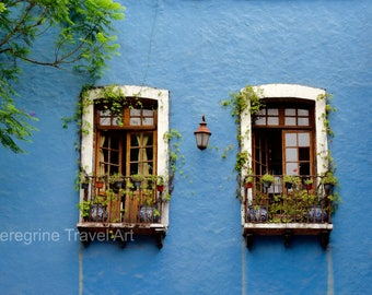 Mexico Window Photography Art Print in light blue