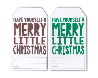 Set of 6 Small Gift Tags - Merry Little Christmas - Metallics and Colours - Hand Drawn