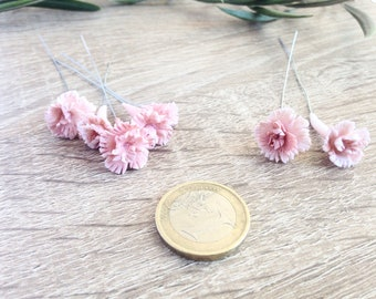 Pale pink carnation, clay carnation, cold porcelain clay flowers, handmade flower, headpieces flower, flowers supplies, miniature flowers
