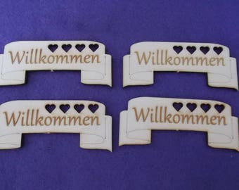 """4 Banners """"WELCOME"""", wood, 9 x 3.5 cm (03-0011A)"""
