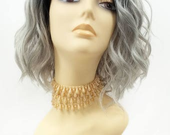 12 Inch Lace Front Grey with Dark Roots Short Wavy Lob Wig w/ Side Part. Heat Resistant Synthetic Wig. [119-558-Teegan-TT/Grey]