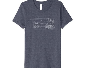 Hockey Fan T-Shirt with vintage Zamboni Patent drawing - Perfect for Father, Husband, Son