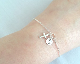 Sterling Silver Dainty Cross Bracelet, Personalized Cross, Baby Baptism Gift, Confirmation Gift, First Communion Gift, Cross Charm