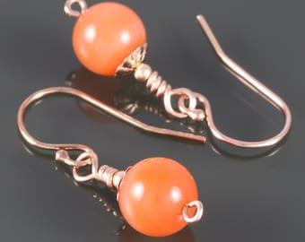 Orange Agate Earrings. Rose Gold Filled Ear Wires. Genuine Gemstone. Small Drop Earrings. f16e085