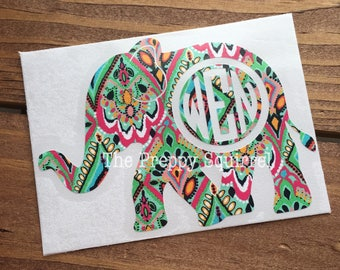 Elephant Monogram Decal | Preppy Monogram