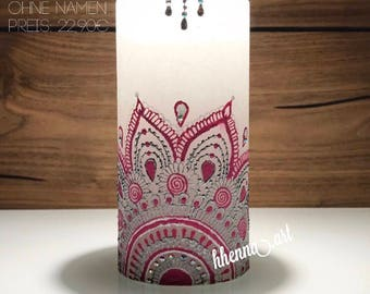 Henna candle, personalized, 0004B